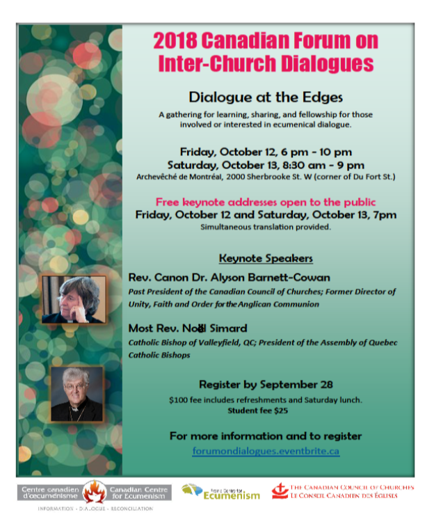 Dialogue at the Edges: 7th Canadian Forum on Inter-church Dialogues - October 2018
