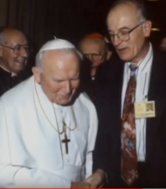Pope John Paul II and Dr. George Vandervelde at the 1998 Synod of Bishops